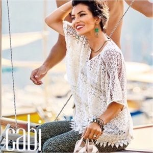 CAbi | Ivory Crochet Cover-up Top Style 5026 M